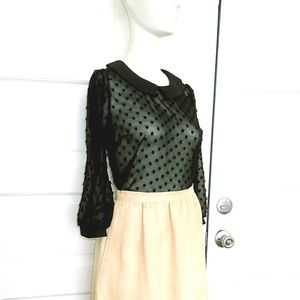 Monteau sheer black blouse flocked peterpan collar